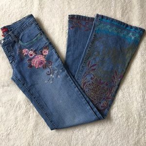 Bebe Jeans Hand painted beaded Jeans size 25